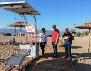 Εγκατάσταση Seatrac στην παραλία Τουρλίδας Μεσολογγίου παρουσία της Αντιπεριφερειάρχη Μαρίας Σαλμά